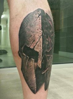 Awesome Spartan helmet from the left side of my calf