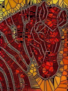 Red Orange Mosaic Zebra Canvas Framed Print child s bedroom nursery zoo animals