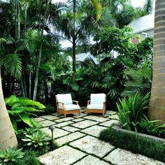Tropical Backyard Landscaping, Tropical Patio, Tropical Garden Design, Garden Landscape Design, Landscape Architecture, Tropical Gardens, Back Gardens, Outdoor Gardens, Backyard Paradise