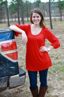 Bell Sleeve Top - Red - $24.95
