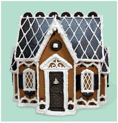 Ooh, love the dark chocolate detailing on this gingerbread house.  Haven't seen that done before.