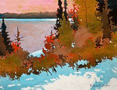 Robert Genn, artist, original landscape paintings at White Rock Gallery October Light, Heenan Point, Lake of the Woods Canadian Painters, Canadian Artists, Landscape Art, Landscape Paintings, Acrylic Paintings, Abstract Canvas, Tree Art, Beautiful Paintings, Cool Art