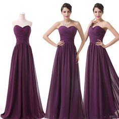 PURPLE Chiffon Formal Gown Ball Party Bridesmaid Dresses Long Evening Prom Dress