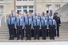 Meet your newest Kansas City Police officers! Entrant Officer Class 145 took their oath of office on the steps of City Hall today (Police Headquarters steps, where the photo is traditionally taken, are under construction) and will graduate from the Police Academy August 9, 2012.