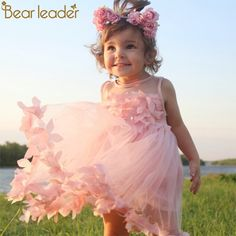 a288b38eb1746 Bear Leader Girls Dress 2018 New Summer Mesh Girls Clothes Pink Applique  Princess Dress Children Summer