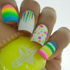 26 Beautiful Easter nail designs you should try this Easter holiday.Enjoy bunniesEaster eggs crossrabbitspolka dots all fun details on your Easter nails Neon Nail Art, Rainbow Nail Art, Neon Nails, Diy Nails, Manicure Ideas, Easter Nail Designs, Easter Nail Art, Nail Art Designs, Nail Art Galleries