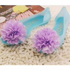 Jelly Blue Lavender Rosette Flat Wedding Bridesmaid Sandals Shoes SKU-1091033