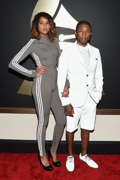Pin for Later: The 2015 Grammys Looks So Memorable, We're Still Talking About Them Pharrell Williams Next to designer Helen Lasichanh's tracksuit onesie, the star's trademark tuxedo shorts didn't look that surprising!
