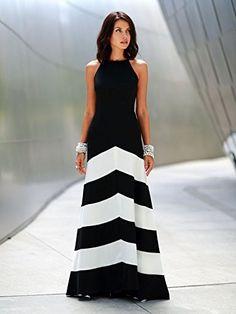 Women's Polyester Multicolor Stripe Sleeveless A-line Maxi Dress