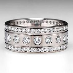 Diamond Wide Band Ring 2 Ctw Eternity 18K White Gold -  This is simply beautiful!