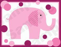 MAGENTA & PINK POLKA DOT ELEPHANTS BABY GIRL NURSERY WALL BORDER DECALS KIDS ROOM STICKERS DECOR