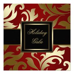 Black Gold Red Damask Holiday Party Invitations #lulus #holidaywear