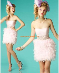 Robe de cocktail 2013 chic plumes rose