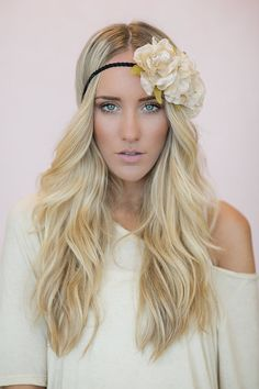 Coachella Flower Crown, Bohemian Headband, Cute Hair Bands, Women's Silk Flower, Side of Flowers Headband in Dusty Taupe(HB-119)