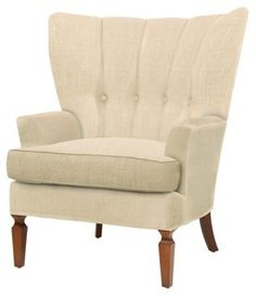 Remy Tufted Linen Wing Chair, Ivory
