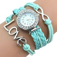 Love wrap rhinestones bracelet woman watch