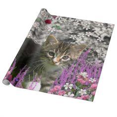 Emma in Flowers I – Little Gray Tabby Kitten Gift Wrap Paper  #DianeClancy