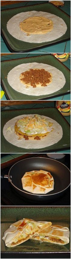 Yummy Crunchwrap Supremes Recipe Ingredients (for a basic Crunchwrap Supreme): Large (burrito size) tortilla shells Small tostada shells Queso sauce Pre-cooked taco meat Shredded lettuce Shr… I Love Food, Good Food, Yummy Food, Yummy Taco, Comida Tex Mex, Great Recipes, Favorite Recipes, Comida Latina, Cooking Recipes