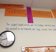 Compound Sentence anchor chart idea from Jeff Anderson's Mechanically Inclined. Sentence Anchor Chart, Grammar Anchor Charts, Writing Anchor Charts, Sentence Writing, Mentor Sentences, Mentor Texts, Teaching Grammar, Teaching Language Arts, Classroom Language
