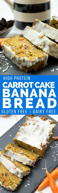 High protein carrot cake banana bread is the perfect afternoon snack. Gluten free, no refined sugars, high in protein, grain free and easy to make Banana Carrot Bread, Protein Banana Bread, Gluten Free Banana Bread, Gluten Free Baking, Gluten Free Desserts, Carrot Cake, Protein Muffins, Protein Cookies, High Protein Snacks