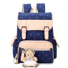How nice Fresh Flower Large Capacity Bear Student School Bag Rucksack Canvas Backpack ! I like it ! I want to get it ASAP!
