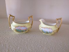 Edwardian creamer & sugar set, manufactured by Tressemanes & Vogt in Limoges, France.  Handpainted and signed (bottom of creamer) by J. Hayes,