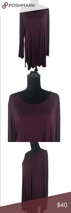 """Eileen Fisher 100% Silk Tunic Top Size L/XL SELLER DISCLOSURE: This garment is missing the size tag. I estimate that is garment maybe a size large to extra large based on measurements comparison of the manufacturers size chart. Please review measurements in this listing before purchasing!  - Size: Large/Extra Large - Material: 100% Silk - Condition: Very Good  - Color: Burgundy - Pockets: No  *Measurements(Taken Laying Flat): Pit-to-Pit: 23.5"""" Length: 32"""" Eileen Fisher Tops Tunics"""