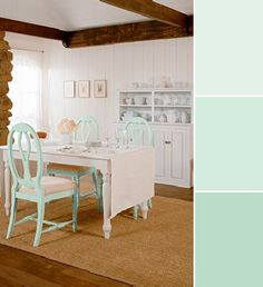 """""""I love Behr's Mint Fizz, Winter Fresh and Spirited Green (470C) palette because it screams fresh and clean,"""" says assistant design editor Holly Meighen. """"It's also in the green category, which I love for this time of year! Paint a room in one of these hues for a cool, relaxing feel. Or for a less permanent dose of the colour, choose a piece of furniture to paint."""""""