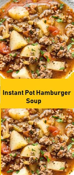 This Instant Pot hamburger soup is easy and flavorful! It's a healthier comfort food that uses simple everyday This Instant Pot hamburger soup is easy and flavorful! It's a healthier comfort food that uses simple everyday Instant Pot Dinner Recipes, Easy Soup Recipes, Cooking Recipes, Healthy Recipes, Crockpot Recipes, Hamburger Recipes, Hamburger Soup Crockpot, Hamburger Casserole, Crock Pot Soup
