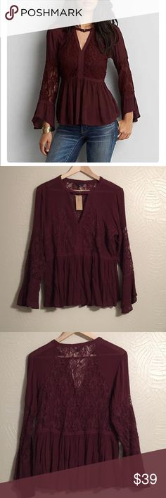 American Eagle Outfitters Top. NWT. For the romantic❤️ get some serious attention in this swing silhouette . Choker top with bell sleeves and romance style ❤️❤️No trades. 0668 American Eagle Outfitters Tops Blouses