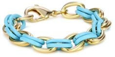 """Lee Angel """"Safina"""" Turquoise-Color Enamel and Gold Plated Double Link Bracelet Lee Angel. $33.99. Hand enameled and 12k gold plated brass links with lobster closure. Hand linked. Made in China. Made in CN"""