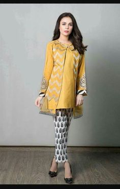 Yellow kurti with black n white pants Stylish Dress Designs, Designs For Dresses, Stylish Dresses, Simple Dresses, Casual Dresses, Casual Wear, Pakistani Formal Dresses, Pakistani Fashion Casual, Pakistani Dress Design