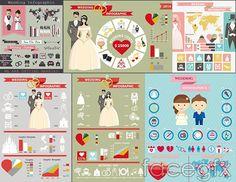 Flat wedding elements vector
