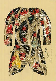 Japanese Tattoos by Horihana Japanese Koi Fish Tattoo, Japanese Tattoo Designs, Full Tattoo, Back Tattoo, Koi Dragon Tattoo, Traditional Japanese Tattoos, Asian Tattoos, Japan Tattoo, Oriental Tattoo