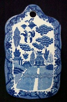 Blue Willow Porcelain China Cutting Board Bread Cheese