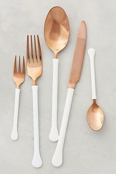 Anthropologie Copper Top Flatware