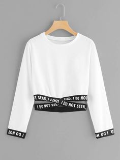 Shein Criss Cross Hem Sweatshirt is part of Hem sweatshirt - Summer Sweatshirts, size features areLength Crop,Sleeve Length Long Sleeve, Girls Fashion Clothes, Teen Fashion Outfits, Outfits For Teens, Clothes For Women, Emo Fashion, Korean Fashion, Girl Fashion, Fashion Casual, Summer Outfits