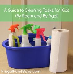 Chores for Kids: A Guide to Cleaning with Kids by Room and Age. Good ideas for homeschoolers. Just ignore the chemical cleaners she suggests and instead follow her advice on a 50/50 water & vinegar solution.
