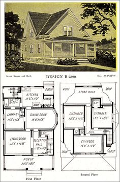 1918 Late Queen Anne Free Classic House – Modern American Homes – C. Bowes Co. Pretty, practical small house from the very tail end of the QA period with Colonial details. The cross-gabling was more common earlier in the decade. Farmhouse Floor Plans, Craftsman House Plans, Building Plans, Building A House, Vintage House Plans, Vintage Homes, Gable House, Cottage Plan, Cottage Living
