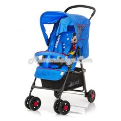 hauck - Disney - Sport V - Mickey Blue    The Disney Sport V is the entry level model in the buggy area. It is very light and maneuverable making it the ideal companion for your shopping spree. By swivel and locking front wheels, the extra large basket, and the ability to push the Shopper Sports handed, each purchase will be an experience for you and your child. The backrest of the Shoppers sports can be regulated steplessly up to the rest position, the leg rest is 5 - way adjustable.