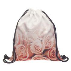 Bag Storage Fashion Women Jeans Preppy Style Pattern Prints Pink Roses Ombre