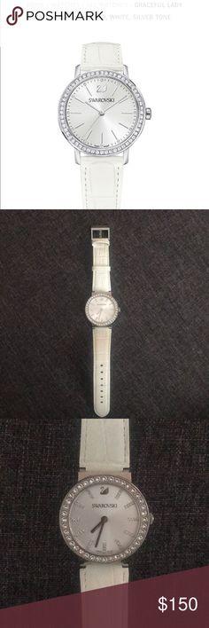 Swarovski Crystal White Leather watch Grace Lady Swarovski watch. White leather strap. Silver tone. Worn 2x. No scratches great condition! Original price $249. Swarovski Accessories Watches
