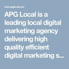 APG Local is a leading local digital marketing agency delivering high quality efficient digital marketing services such as PPC, SEM, FB, LiveChat & Targeted and Retargeting Display Advertising. We serve the markets in and around Birmingham Alabama. #mobileadvertising http://www.apglocal.com