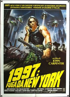 Escape From New York, starring Kurt Russell, Lee van Kleef, Ernest Borgnine, Donald Pleasence, Isaac Hayes, Season Hubley, Harry Dean Stanton and Adrienne Barbeau, 1981.