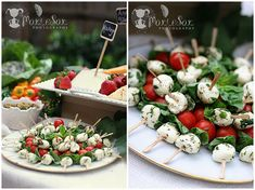 mozzerella and tom and basil balls, great for cheese nibbles in the evening. Easy to pick up and eat