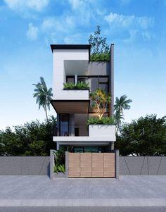 New House Facade Modern Exterior Design Ideas Flat House Design, 3 Storey House Design, Narrow House Designs, House Front Design, Modern House Design, Home Building Design, Building A House, Facade Design, Exterior Design