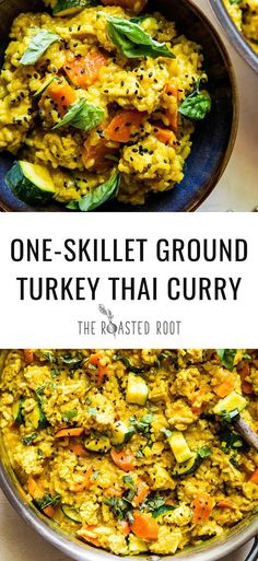 One-Skillet Ground Turkey Thai Curry One-skillet ground turkey Thai yellow curry with rice. This quick and easy one-pot recipe makes a complete meal of lean protein and aromatic coconut milk sauce with vegetables. Ground Turkey Enchiladas, Ground Turkey Soup, Ground Turkey Tacos, Healthy Ground Turkey, Quick Ground Turkey Recipes, Recipes With Ground Turkey, Ground Turkey Dinners, Thai Yellow Curry, Gourmet