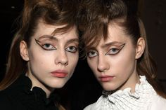 Lia Pavlova and Odette Pavlova backstage at Kenzo FW 16 photographed by Elodie Chapius for Models.com