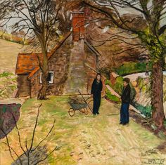 Figures near a cottage, 1983, oil on board. Carel Weight.