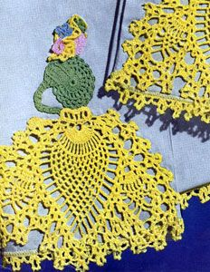 Pineapple Walk Motif crochet pattern from Pillow Cases Decorative Crochet, Clark's O.N.T. J Coats, Book No. 264, in 1950.